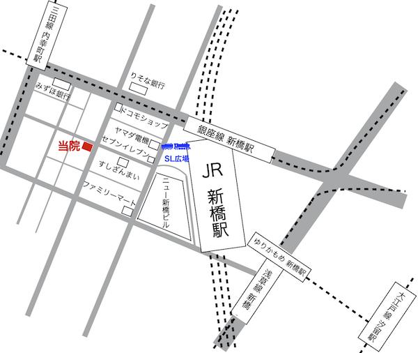 にじいろクリニック新橋のアクセスマップ